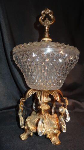 Vintage Crystal Compote Candy Dish Lidded Pedestal 7 Tear Drop Prisms