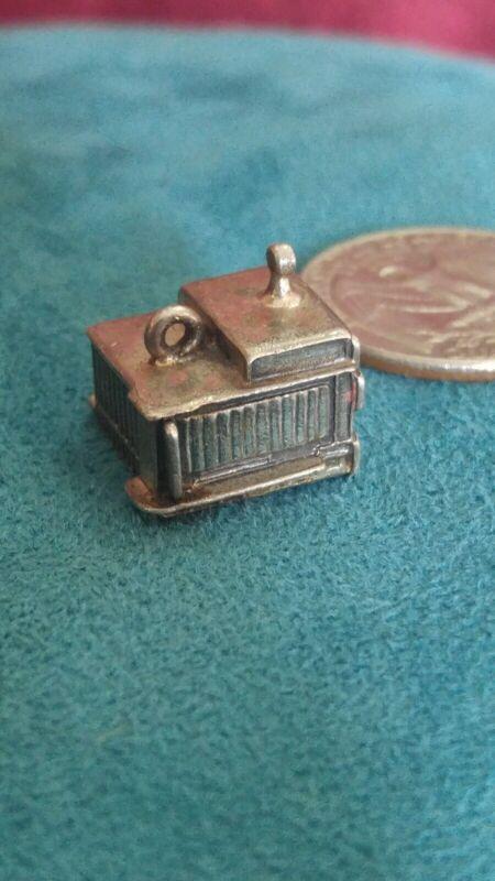 925 sterling silver charm school vtg pendant necklace bracelet lucky rare retro