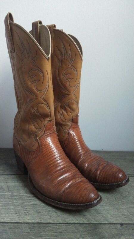Dan, Post, Vintage, Mens, Lizard, Skin, Western, Boots, Size, 10D