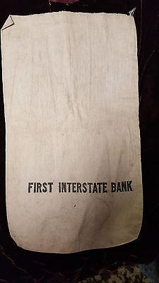 Vintage Canvis Coin Money Bag First Interstate Bank Canvas Money Bag