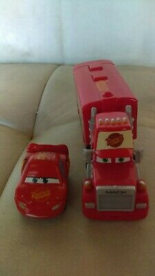 "Disney Pixar Cars Lot of 2 Rare Mini Racers 5"" Mack Hauler & Lightning McQueen"