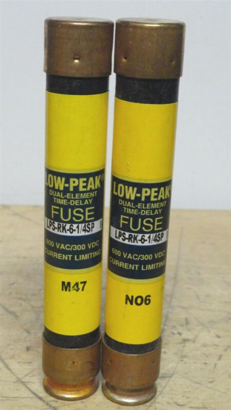 BUSSMANN (Lot of 2) LPS-RK-6-1/4SP - 6.25A Low Peak Time Delay Fuse (2 NEW)