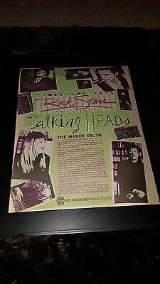 Talking Heads The Naked Truth Radio Special Rare Original Promo Poster Ad Framed