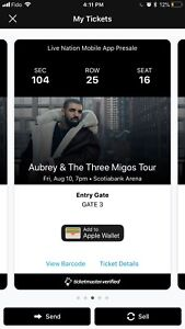 Drake tickets Friday August 10 section 104!!!