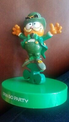 Vintage Garfield Cat Erin Go Party St Patty's Day Figure w/Base March Irish