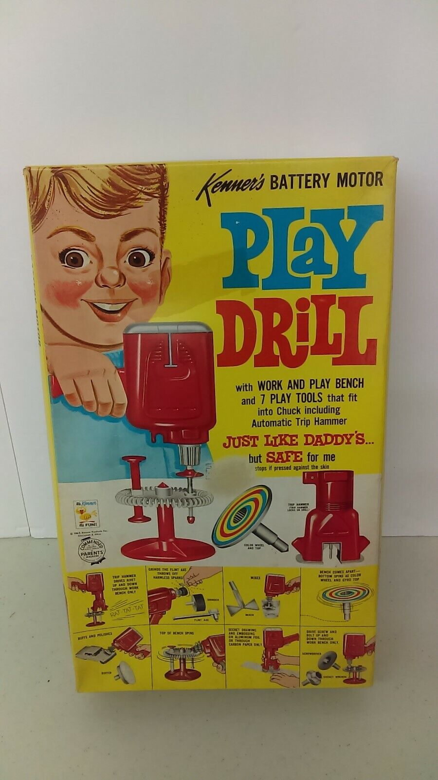 1963 Kenner Play Drill With Bench & 7 Tools Battery Powered
