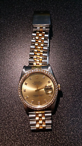 ROLEX OYSTER PERPETUAL STEEL & GOLD DIAMOND BEZEL WATCH