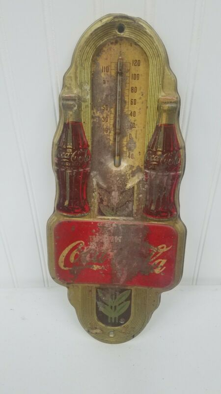 1941 Vintage Double Bottle Coca-Cola Wall Thermometer - rough