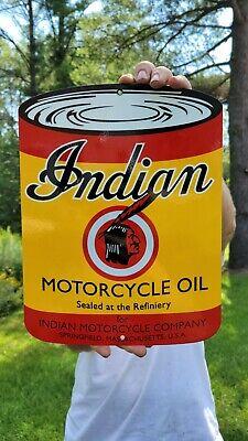 VINTAGE INDIAN MOTORCYCLE OIL PORCELAIN METAL METAL GAS STATION MOTORCYCLES SIGN