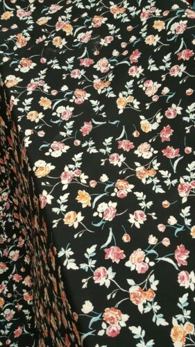 Rayon Challis Fabric By The Yard Floral Flowers Orange Red B