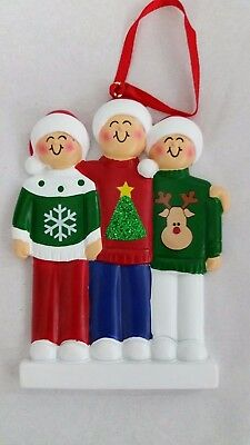 Personalized Family Three 3 Ugly Sweater Christmas Tree Ornament Holiday Gift