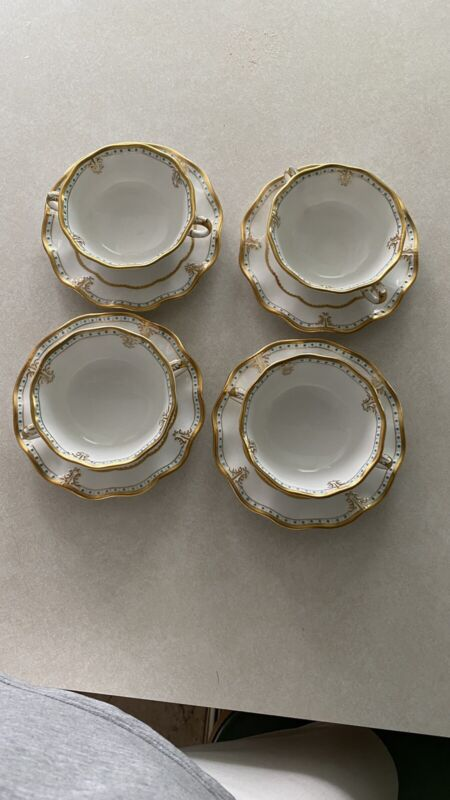 4 Royal Crown Derby Lombardy Cream Soup And Saucer A1127 Perfect.