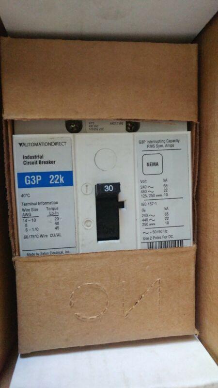 EATON AUTOMATION DIRECT G3P-030 GP3 22k CIRCUIT BREAKER 30 AMP 3 POLE NEW NO BOX