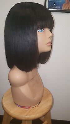 NEW Custom Hand-made 100% Human Hair Wig with LACE CLOSURE BANGS