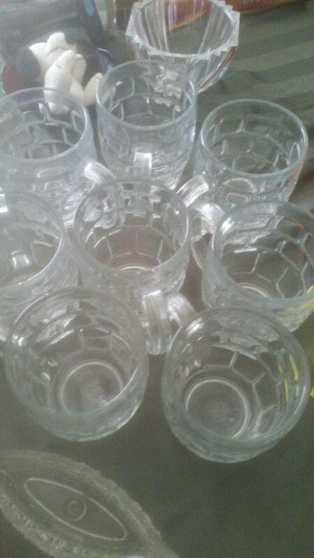 Crown England Dema Glass Beer Stein Mug set of 8 1/2 pint.