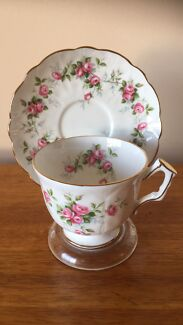 "Aynsley ""Grotto Rose"" Tea Cup & Saucer"