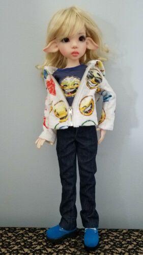 Ooak Emoji 5 Pc Outfit Hoodie JeansTee Shoes Socks Kaye Wiggs Msd Bjd Doll - $59.95