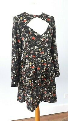 NEW Jovonna London Size 10 12 Black Floral Cut Out Dress Long Sleeves Fit Flare
