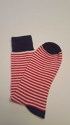 1 New Christmas Colors Men's / Women Blue White Red Line Candy Cane Design Sock