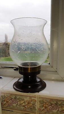 LARGE ANTIQUE TURNED OAK & BRASS BASED ENGRAVED GLASS HURRICANE CANDLE HOLDER