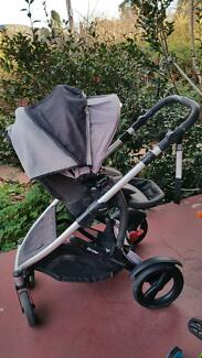 Britax compact strider pram and white timber cot