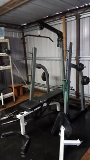 Home Gym - Bench, Squats, Lat Pull, Rows, + More