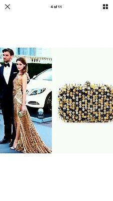 Nwt Olivia Palermo Zara Sequined Clutch Yellow White Black Suede for sale  Voorhees