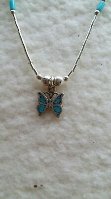 Sterling Silver Navajo Native American Butterfly Pendant Necklace