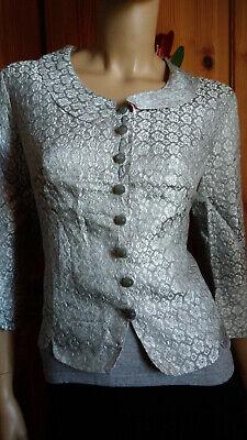 Wunderschönes Vintage Kostüm 2 Teiler Tolle Farbe+Muster +Details Gr. ca. 40