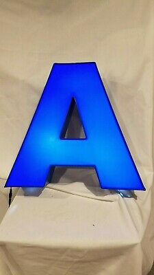 Letter A Retro Marquee Channel Letter A Vintage Sign Blue With Led Lights