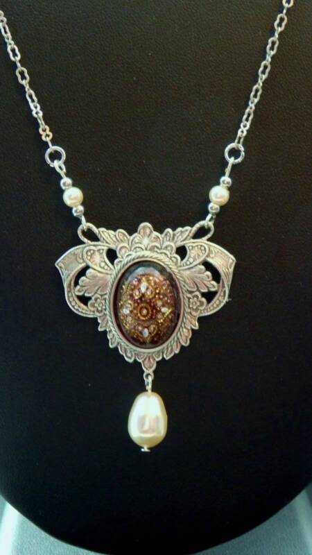Victorian Style Vtg Purple Stone Faux Pearl Drop Silver Plated Necklace