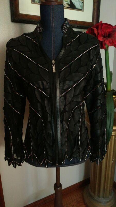 Ladies Western Show Trail Rail Pleasure Leather Zip Black Jacket Rhinestones M