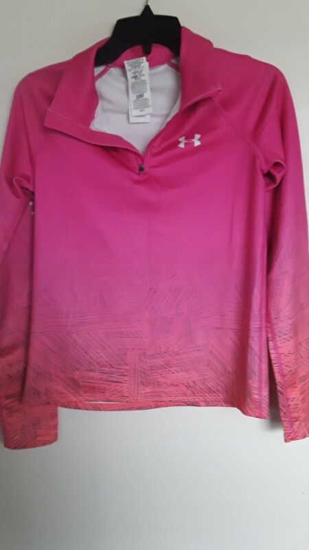 Under Armour ColdGear Pink Coral  Active Pull Over Jacket Girls Sz  L