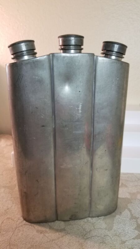 Large 3 Spout Hip Flask by Great Rex England silverplate