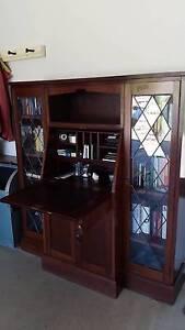 Antique Jarrah Desk with Leadlight Cupboards Clare Clare Area Preview