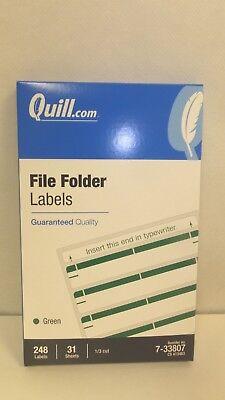 248 File Folder Labels, 31 Sheets, 8 per Sheet, 1/3rd Cut, Green - Cut File Folder Labels