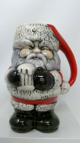 "Vintage Hand Painted Craft Ceramic Santa Mug  - 8 1/4"" tall"