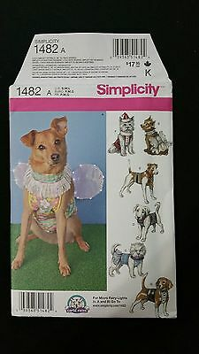 Simplicity 1482 Dog Clothes Sewing Pattern Costume Small Med Large Pet New Uncut