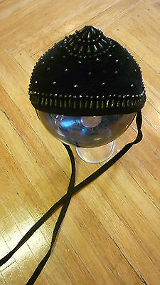 ANTIQUE WOOL MOURNING CAP / MULTI  FACETED PAINTED BRASS STUDS / HAND STUDDED