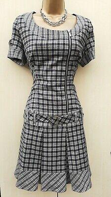 10 UK KAREN MILLEN Check Wool Low Waist Pleat Belted Casual Mini Dress