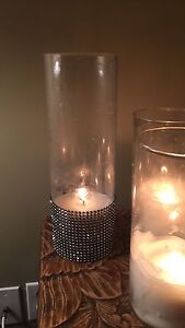 Glass Vase  with Black/Silver Bling