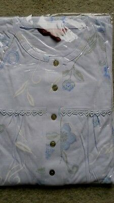 fauser Damen Nachthemd langer Arm Knopfleiste Baumwolle Hellblau Gr.56/58 NEU /a