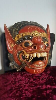 Indonesian Hand Carved Wooden Mask Wards off Evil Spirits Protects Home