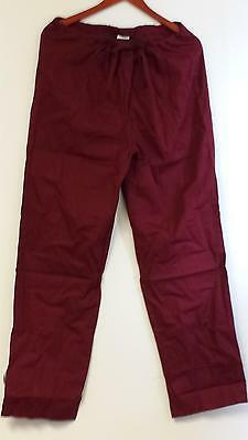 Unisex Medical Scrub Pant Straight Leg Drawstring Burgundy Wine Size 2XS 2X-S