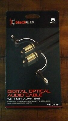 blackweb TOSLINK Digital Optical Audio Cable with Mini Adapters - 6'
