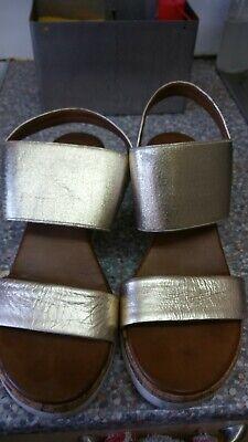 Inuovo women ladies wedge platform leather elasticated sandals size 4 eu 37