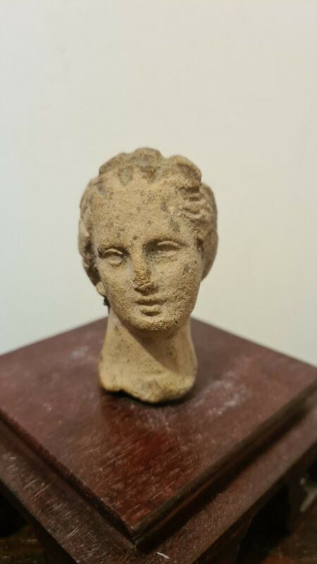RARE Authentic Ancient Roman Statue Fragment Bust Head Face Lady God Original