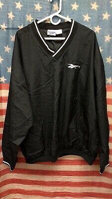 Vintage 90s Reebok Logo Pullover Windbreak Sweater Jacket Black Men's XL