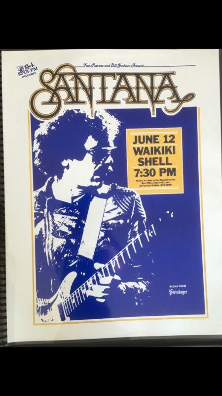 SANTANA PRESENTED BY BILL GRAHAM 1986 ORIGINAL VINTAGE HAWAII CONCERT POSTER