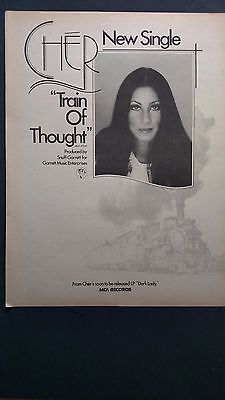 """Cher """"Train Of Thought""""  Original Promo Poster Ad  1974"""